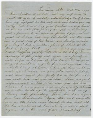 Primary view of object titled '[Letter from Elizabeth C. Pew to Joseph A. Carroll, October 31, 1856]'.