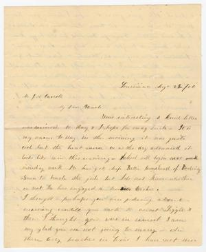 Primary view of [Letter from Mary L. Woods to Joseph A. Carroll, August 28, 1856]