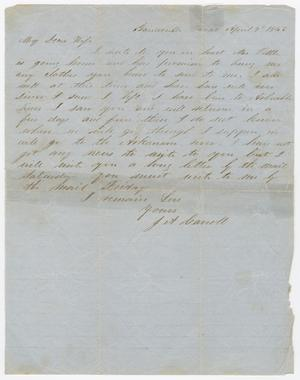 Primary view of object titled '[Letter from Joseph A. Carroll to Celia Carroll, April 7, 1863]'.
