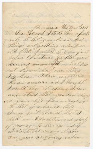Primary view of object titled '[Letter from David Finley to Joseph A. Carroll, February 21, 1859]'.