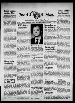 Primary view of object titled 'Claude News (Claude, Tex.), Vol. 76, No. 8, Ed. 1 Thursday, October 7, 1965'.