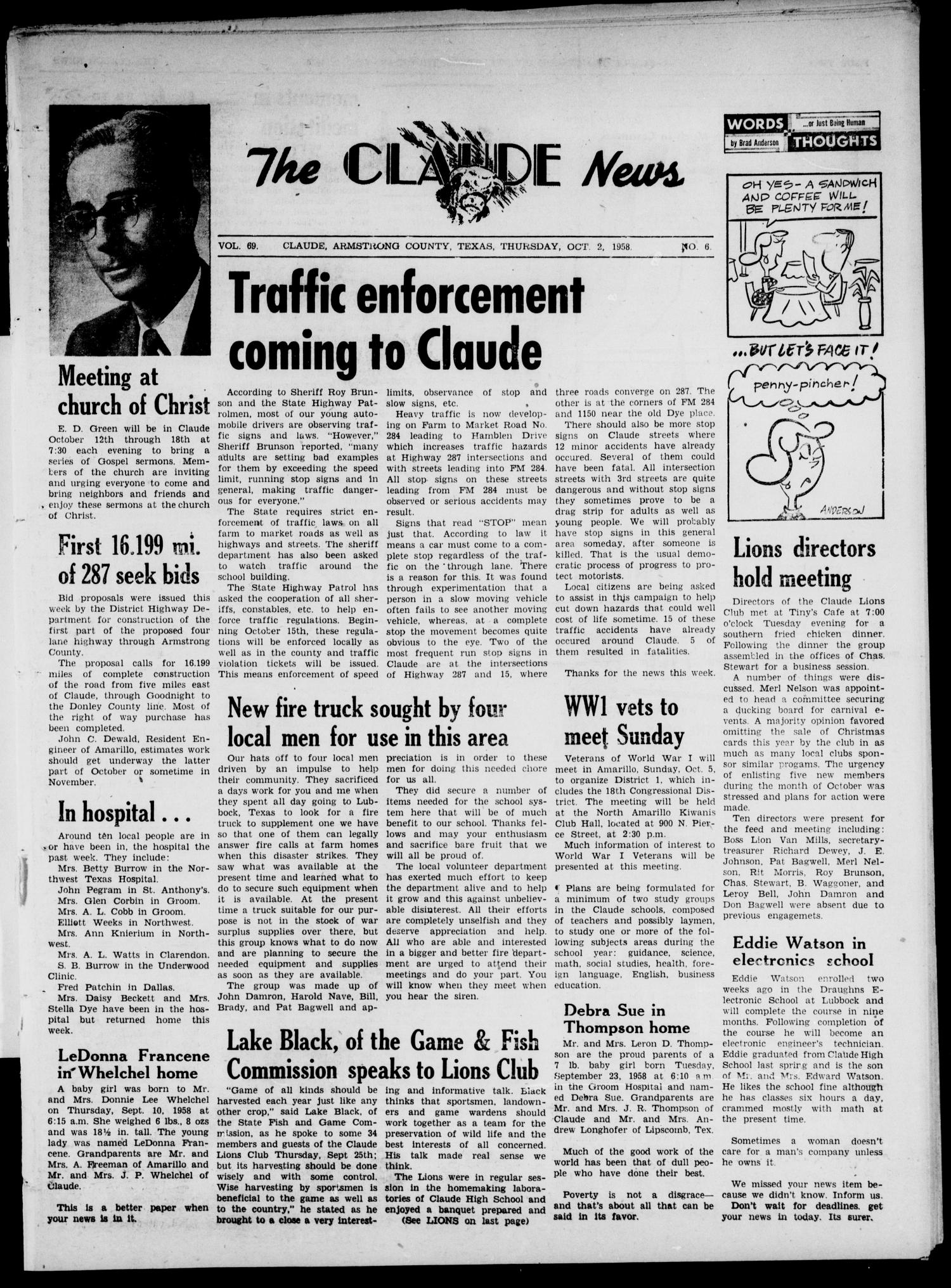 Claude News (Claude, Tex.), Vol. 69, No. 6, Ed. 1 Thursday, October 2, 1958                                                                                                      [Sequence #]: 1 of 16