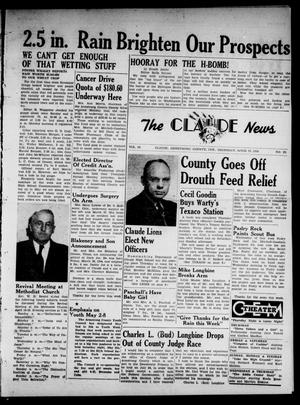 Primary view of object titled 'Claude News (Claude, Tex.), Vol. 64, No. 33, Ed. 1 Thursday, April 15, 1954'.