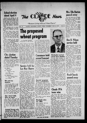 Claude News (Claude, Tex.), Vol. 73, No. 32, Ed. 1 Thursday, March 28, 1963