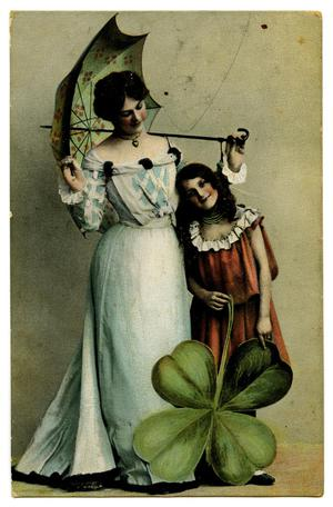 Primary view of object titled '[A Woman, A Girl, and A Giant Clover]'.