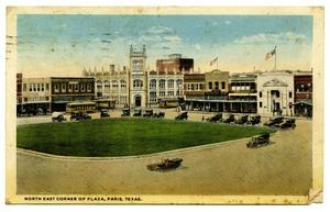 Primary view of object titled '[North East Corner of Plaza, Paris, Texas]'.