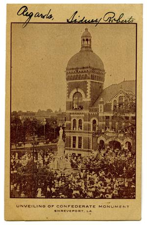 Primary view of object titled '[Unveiling of Confederate Monument in Shreveport, LA]'.