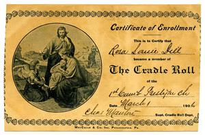 Primary view of object titled '[The Cradle Roll Certificate of Enrollment]'.