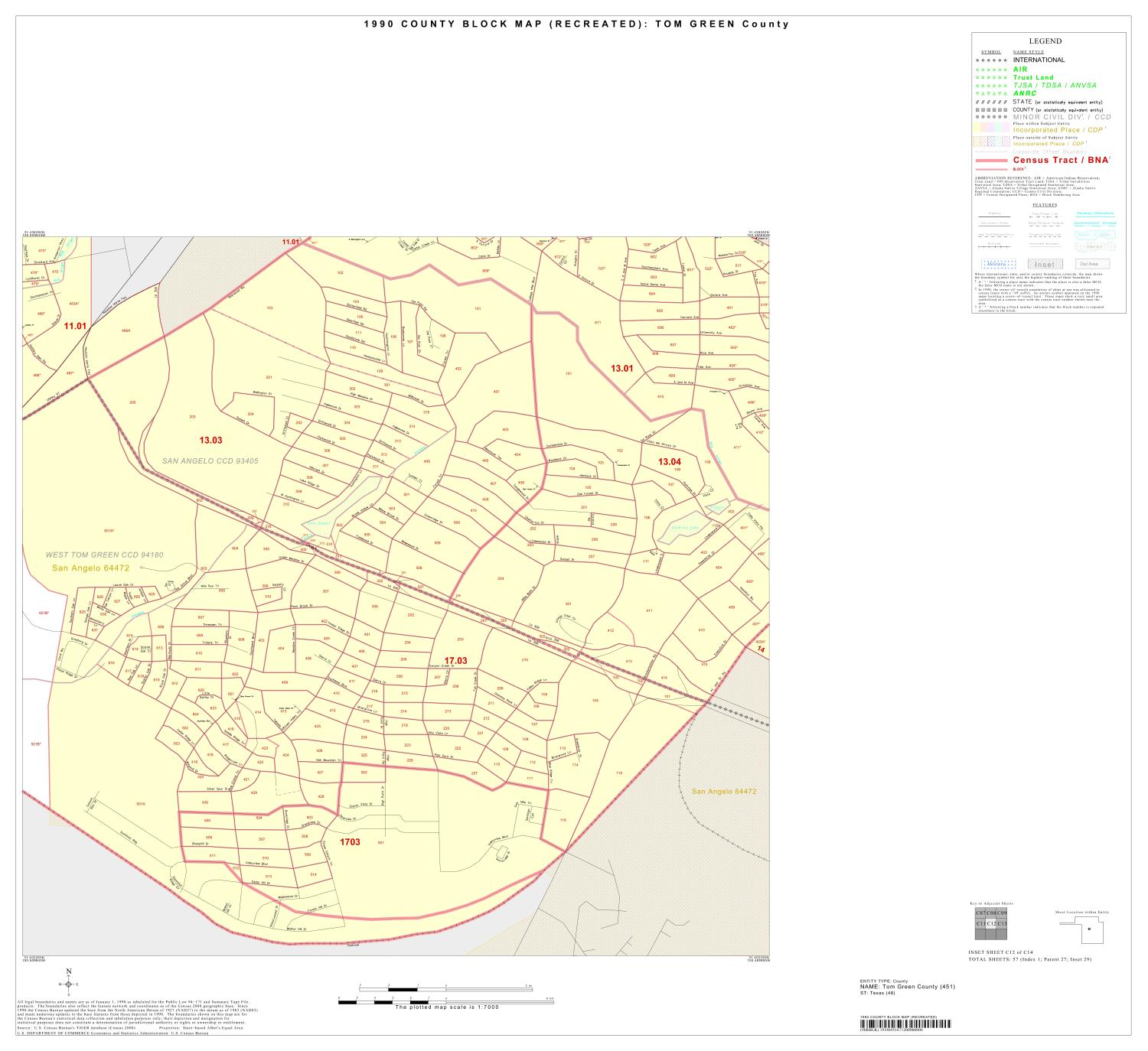 1990 Census County Block Map (Recreated): Tom Green County, Inset C12                                                                                                      [Sequence #]: 1 of 1