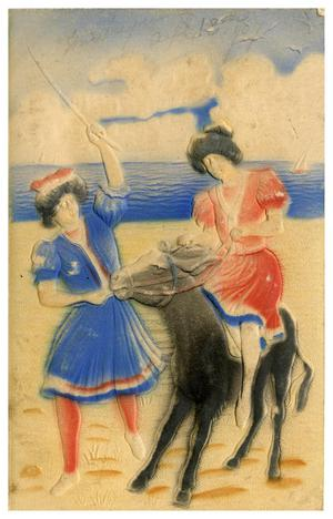 Primary view of object titled '[Girls with Donkey on the Beach]'.
