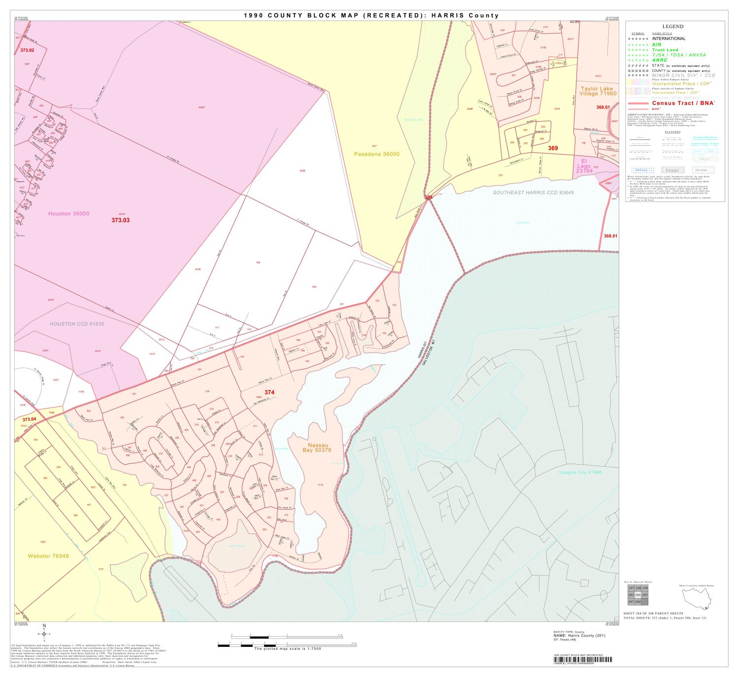1990 Census County Block Map (Recreated): Harris County, Block 204                                                                                                      [Sequence #]: 1 of 1