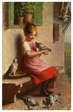 Primary view of object titled '[Girl on Bench with Pigeons]'.