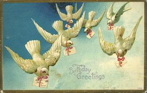 Primary view of object titled '[Doves bringing Birthday Greetings]'.