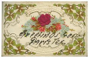 "Primary view of object titled '[Floral Postcard, ""Greetings from Paris, Tex.""]'."