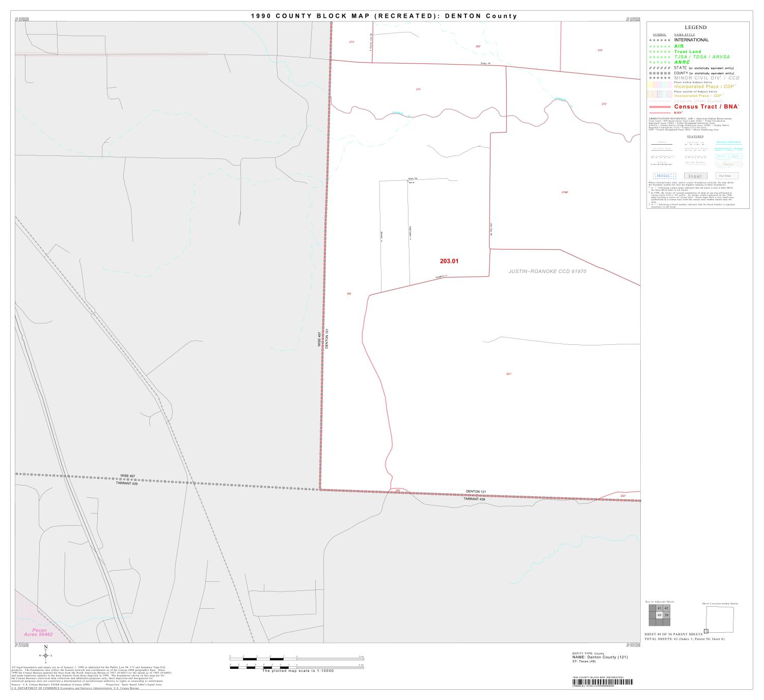 1990 Census County Block Map (Recreated): Denton County, Block 49                                                                                                      [Sequence #]: 1 of 1