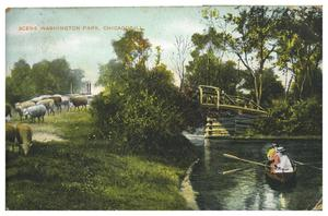 Primary view of object titled 'Scene Washington Park, Chicago, Ill.'.