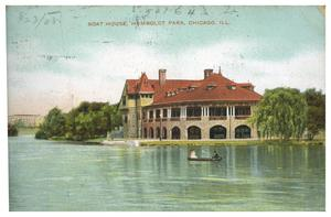 Primary view of object titled 'Boat House, Humbodlt Park, Chicago, Ill.'.