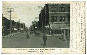 Primary view of object titled 'Robinson Street, Looking North From Grand Avenue. Oklahoma City, Okla.'.