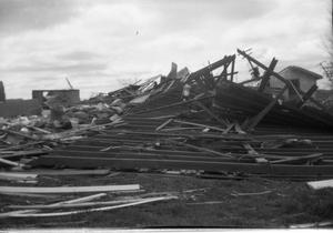 Primary view of object titled '[Photograph of Fallen Structure After Tornado]'.