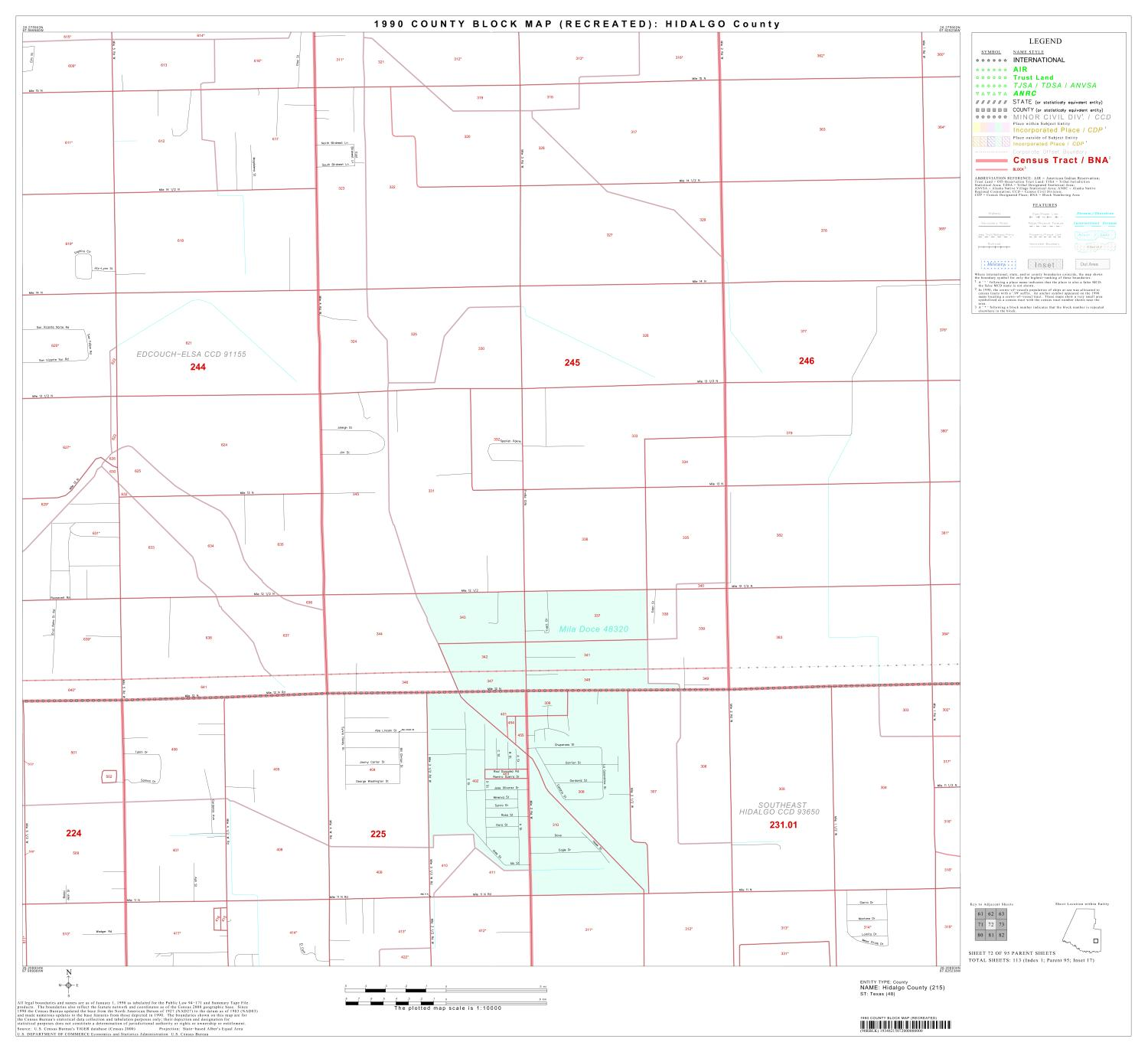 1990 Census County Block Map (Recreated): Hidalgo County, Block 72, Parent map for Hidalgo County, Texas showing the area of one geographic block for which the U.S. Census Bureau collected data. The plotted map scale is 1:10,000.,