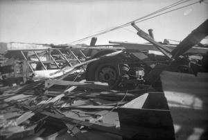 Primary view of object titled '[Photograph of Farm Equipment and Debris]'.