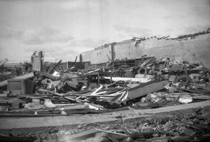Primary view of object titled 'Destroyed Building and Piles of Debris'.