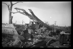 Primary view of object titled '[Photograph of Fallen Tree, Damaged Car, and Scattered Debris]'.