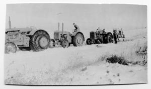 Primary view of object titled 'Joe Imke, Alex File, and Chris Peil Clearing Snow on Road'.