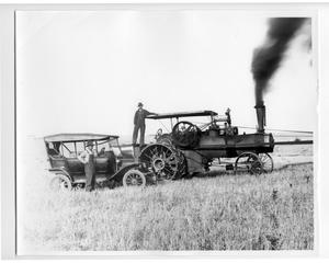 Primary view of object titled '2 Men, Old Car, and Steam Thresher'.
