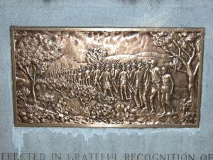 Primary view of object titled 'Alamo memorial for the thirty-two men from Gonzales, detail of bronze'.