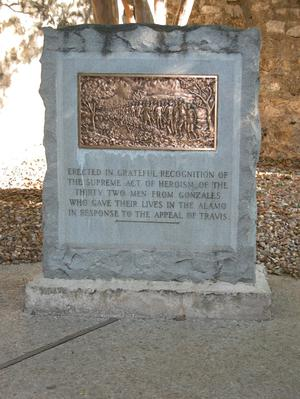 Primary view of object titled 'Alamo memorial for the thirty-two men from Gonzales'.