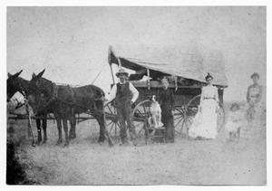 Primary view of object titled 'Denison Family with Covered Wagon'.