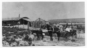 Primary view of object titled 'Horse-drawn Buggy with People and Sod House'.