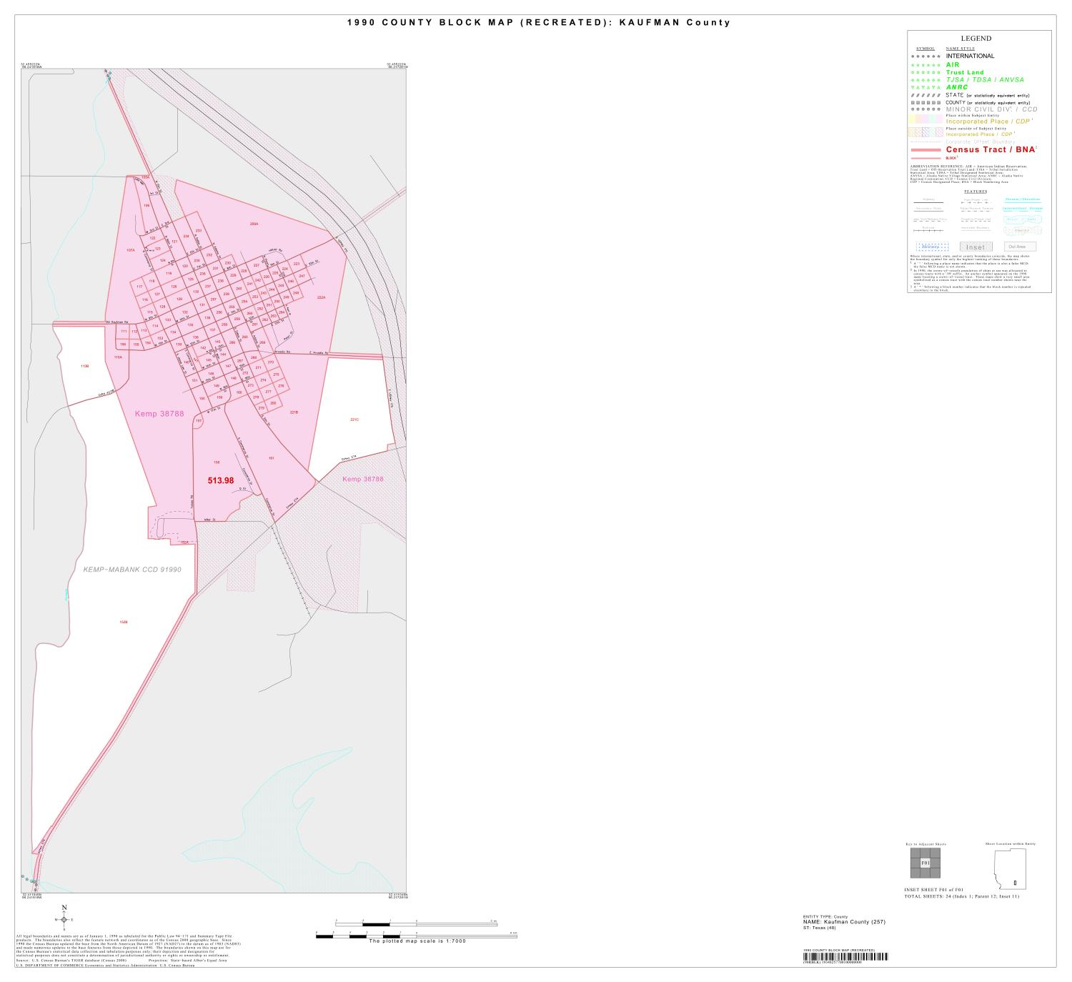 1990 Census County Block Map (Recreated): Kaufman County, Inset F01                                                                                                      [Sequence #]: 1 of 1