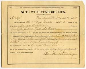 [Lien for purchase of land by L.H. Stuckey to George Burkhart, March 15, 1881]