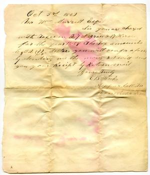 Primary view of object titled '[Letter to William Murrell regarding taxes, October 3, 1862]'.
