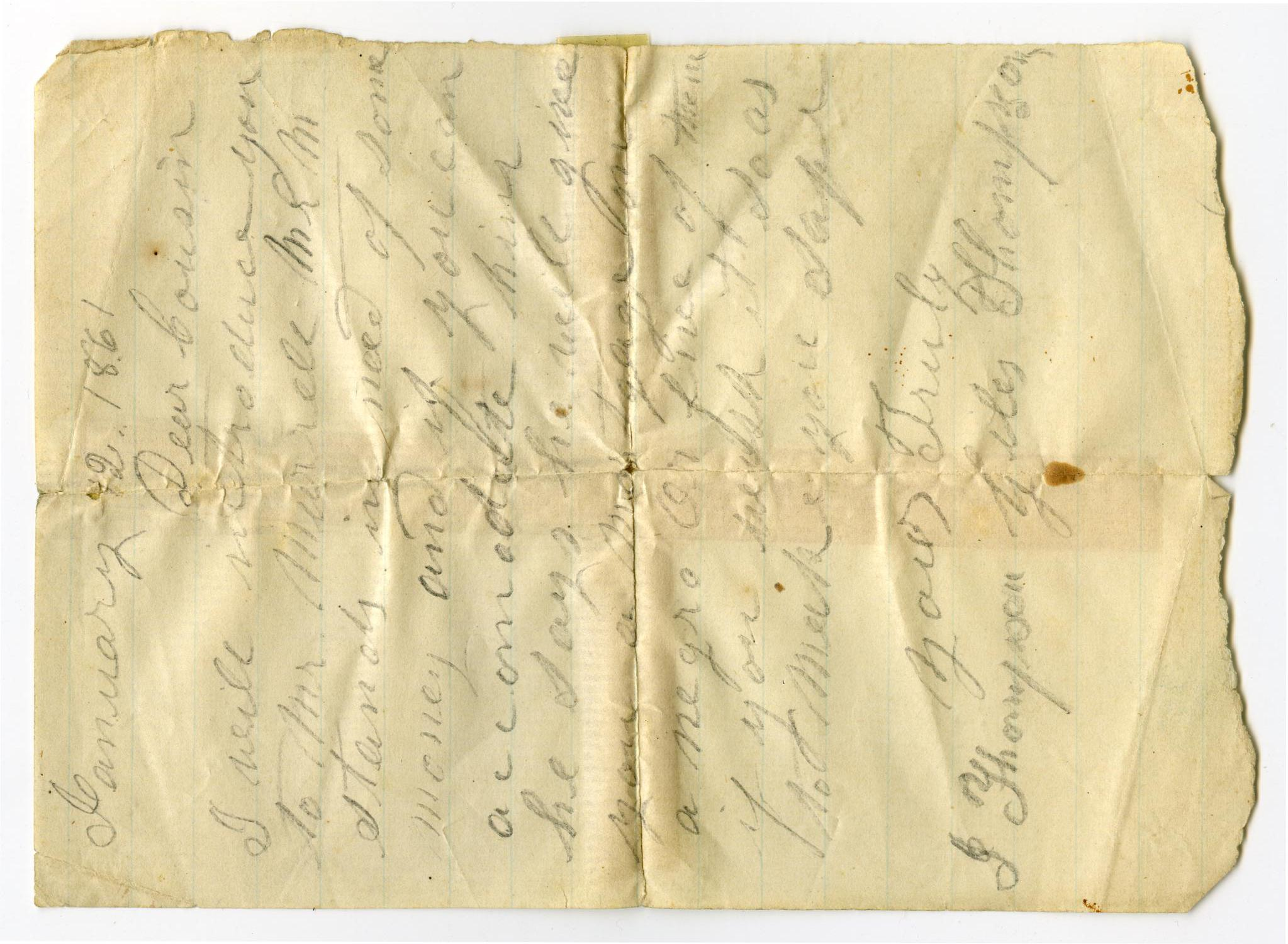 [Letter regarding a loan for William Murrell, January 12, 1861]                                                                                                      [Sequence #]: 1 of 1