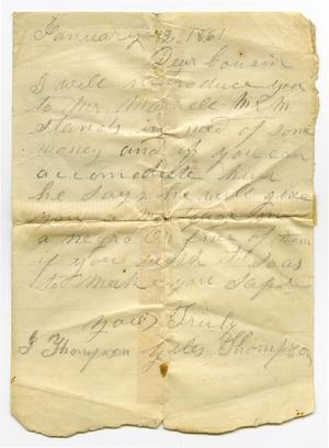 Primary view of object titled '[Letter regarding a loan for William Murrell, January 12, 1861]'.