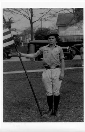 Primary view of object titled '[Boy Scout Orville Quinn at Stark Park]'.