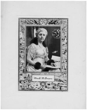 Primary view of object titled '[Texas Historical Society Lithograph of Mrs. E.W. Brown]'.