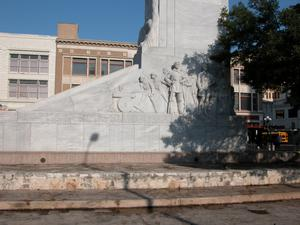 "Primary view of object titled 'Alamo Centotaph, ""The Spirit of Sacrifice,"" side view with sculpture of Defenders'."