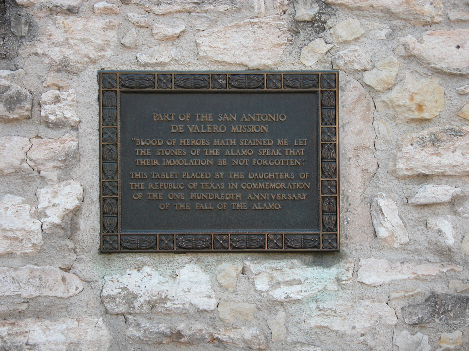 Alamo plaque dedicated by the Daughters of the Republic of Texas                                                                                                      [Sequence #]: 1 of 1