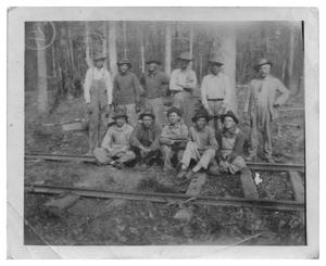 Primary view of object titled '[Timbermen by a Railroad Track in the Woods]'.