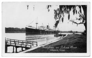 Primary view of object titled '[Photograph of Freighter on Sabine River]'.