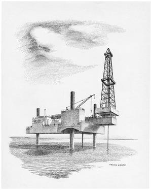 Primary view of object titled '[Artist's Print of an Off Shore Drilling Platform]'.