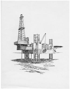 Primary view of object titled '[Artist's Print of an Off Shore Drilling Rig'.