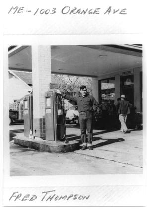 Primary view of object titled 'Fred Thompson at a gas station'.