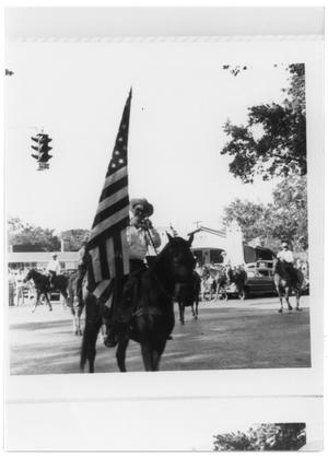 Primary view of object titled 'Man on a horse bearing a flag during a parade'.