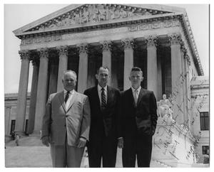 Primary view of object titled '[Congressman Jack Brooks and Two Men at the US Supreme Court]'.
