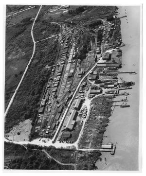 Primary view of object titled 'Arial view of a shipyard'.